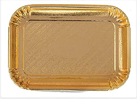 """10 Gold Rectangle Trays for Dessert Table Serving Parties 9/"""" x 13/"""" Heavy Duty"""