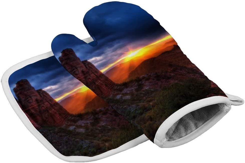 Oven Mitt & Pot Holders, Kitchen Oven Gloves,Hot Pan Mat Pads Set for Cooking Grilling Barbecue Baking, Heat Resistant, Set of 2, Cathedral Rock Sedona