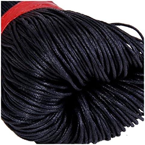 schwarz REFURBISHHOUSE 80 Meter Perle Schnur Baumwollwachs Schnur 1mm Durchmesser