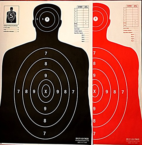 Son of A Gun Paper Shooting Targets, HIGH Shot Placement Visibility, Life Size B-27 Silhouettes, Black and Bright Orange Package, 50 Total Count, GET More Bang for Your Buck! Best Prices Anywhere!
