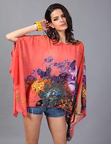 Ferand - Poncho Túnica Mujer Verano Estampados Florales, Tops Elegante Loose Fit Cuello Redondo Con Mangas Divididas Rojo