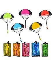 Libershine Parachutespeelgoed voor kinderen, 10 stuks, handwerpen, parachute, outdoor, parachutespeelgoed, vliegspeelgoed voor kinderen, kerstcadeau