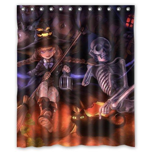 Romantic Simple COLORSFORU Vintage Halloween Devil Skeleton Witch Pumpkin Lantern Black Cat Ghost Custom Bathroom Shower Curtain 60x72 Inch Polyester Fabric