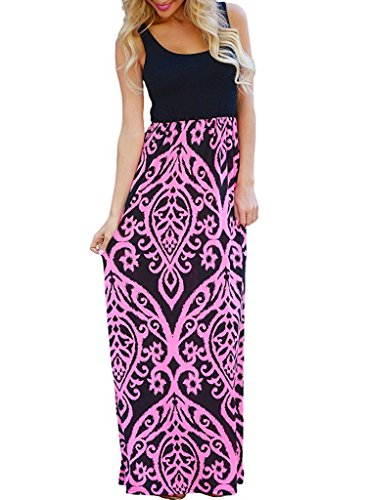 OURS Summer Sleeveless Long Maxi Dresses for Women (Pink, L)