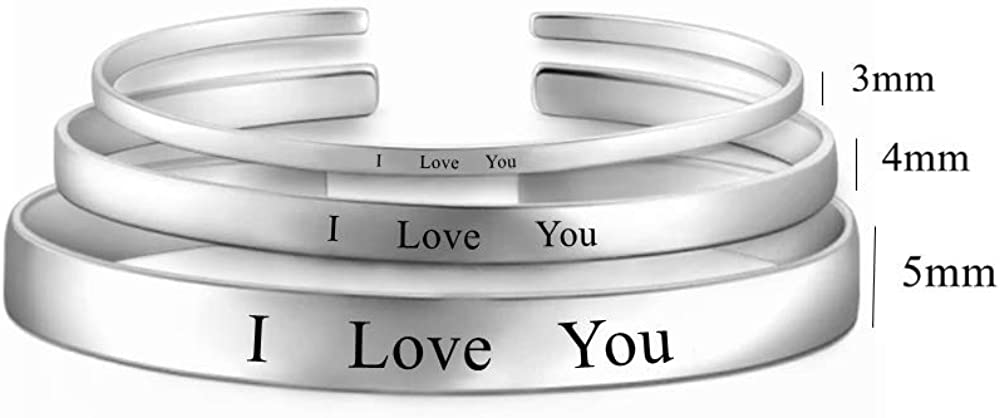 925 Sterling Silver Personalized Cuff Bracelet Custom Name Word Initial Bangle Engraved Name Open Bangle for Friends Family Couples