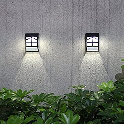 Solar Fence Lights, Ultra Bright Garden Security Wall Light Decorative Outdoor Lights for Patio, Fence, Yard, Garden, Garage, Stairway (Pack of 2)