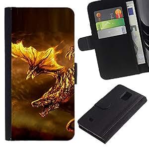 """Samsung Galaxy Note 4 IV / SM-N910 , la tarjeta de Crédito Slots PU Funda de cuero Monedero caso cubierta de piel ("""" Fire Dragon Fierce Animal Mythical Creature"""")"""
