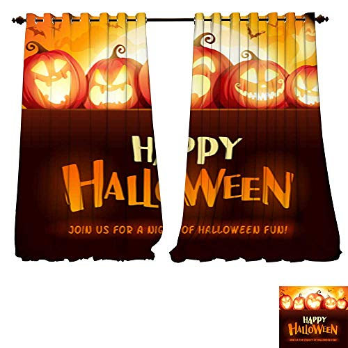 DESPKON-HOME Room Darkening Wide Curtains Happy Halloween Jack O Lantern Party Halloween Pumpkin Patch in The Moonlight Thermal Insulated Room Darkening Window-W96 x L84/Pair ()