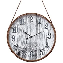 Burkina Home Decor 615378 Wall Clock, Wood, Brown, 65 x 11 x 65 cm