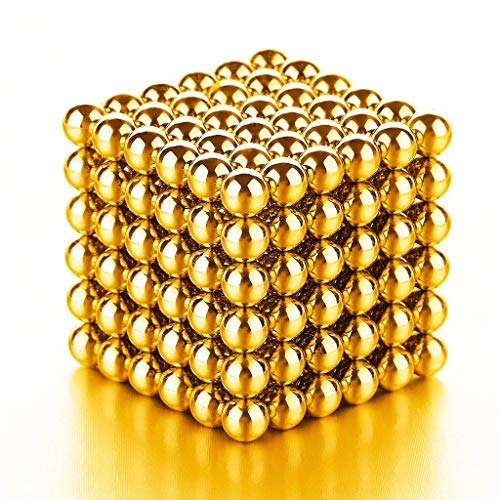 Magnetic Balls Sculpture Building Blocks Intelligent Learning - Mashable, Smashable, Rollable, Buildable Magnetic Blocks - Office Toy Stress Relief Adults (Gold)