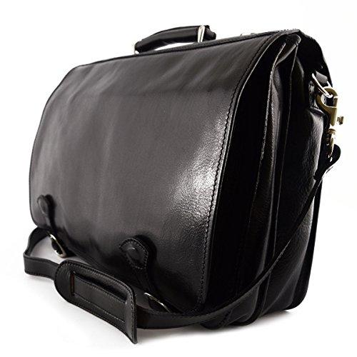 Echtes Leder Aktentasche Mit 2 Fächern Und 2 Taschen Farbe Schwarz - Italienische Lederwaren - Aktentasche