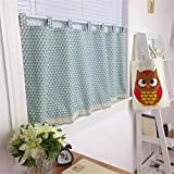 Ustide Geometric Pattern Kitchen Curtains Valances Cotton Linen Cafe Curtains Half Kitchen Curtains for Small Windows 55' W X 24' L