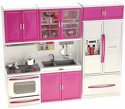 For Kids Girls Pink W// Pots Oven Sink Fridge Toy Food Gloria Kitchen Play Set
