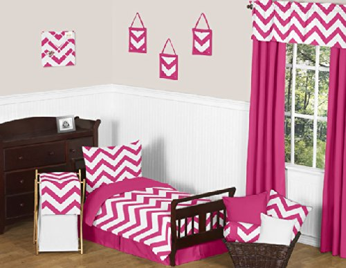 Sweet Jojo Designs Pink Toddler Bed Skirt for Hot Pink and White Chevron Kids Children's Bedding Sets