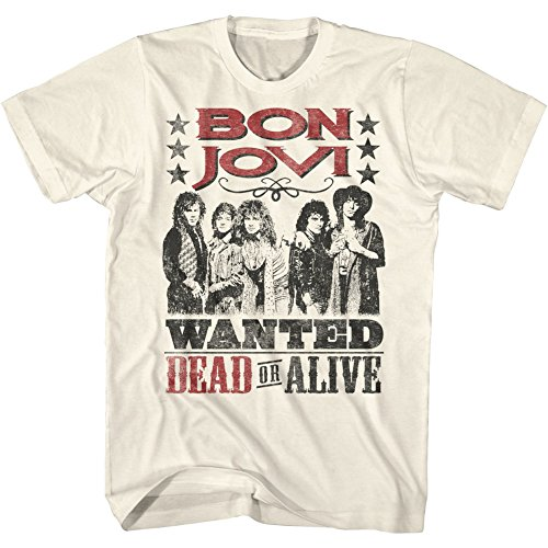 American Classics Bon Jovi Cowboy Wanted Dead Or Alive X2 Natural Adult T-Shirt Tee, Multicolored, X-LARGE (Shirts Rock Roll Cowboy Xl And)
