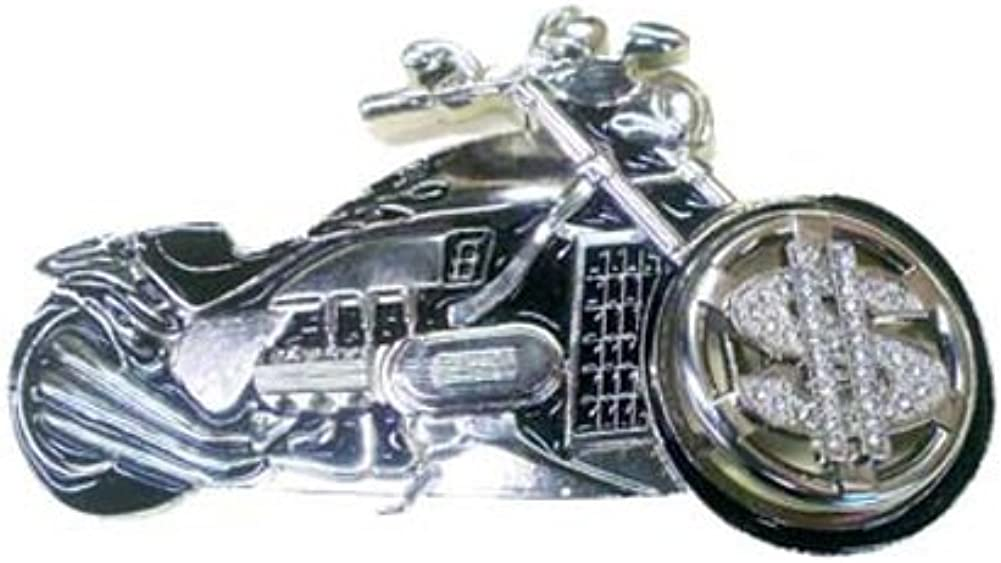 LFA Mens Harley Style Motorcycle With Dollar Sign Spinner Front Wheel Belt Buckle