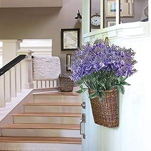 XYXCMOR Artificial Flowers 4 Bundle Lavender Plants Silk Flowers Arrangements Rustic Wedding Bouquet Decor for Vase Home Kitchen Garden Purple 5