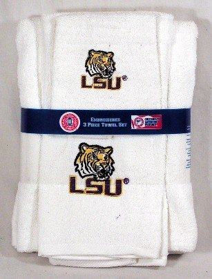 LSU Tigers 3 Piece White Embroidered Bath Towel Gift Set