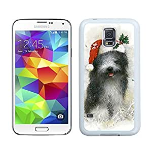 Customized Design Christmas Black Long Fur Dog Samsung Galaxy S5 White Silicone Case,Samsung I9600 Phone Case