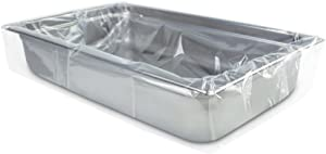 PanSaver Eco Oven-Safe Pan Liner, Clear Disposable Liner Bags, Full Pan Shallow Pan Liners (100 Liners)