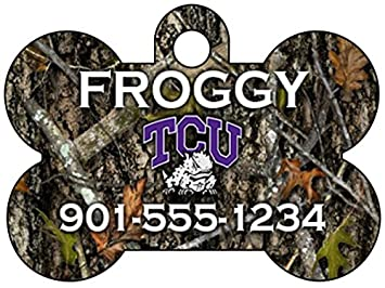 TCU Horned Frogs Pet Id Tag for Dogs /& Cats Personalized w// Name /& Number