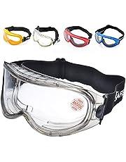 SAFEYEAR Laboratorio Gafas Protectoras de Seguridad Completa Visibilidad (Cinta ajustable) con Lentes Policarbonatos Protección contra Impacto SG007