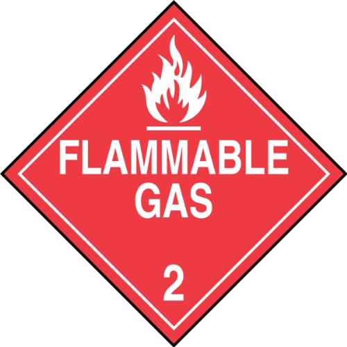 "Accuform Signs MPL202VS1 Adhesive Vinyl Hazard Class 2 DOT Placard, Legend ""FLAMMABLE GAS 2"" with Graphic, 10-3/4"" Width x 10-3/4"" Length, White on Red"