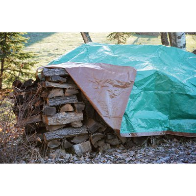 (Roughneck 3.4-Oz. Heavy-Duty Woodpile Tarp - Brown/Green, 8ft. x 32ft.)