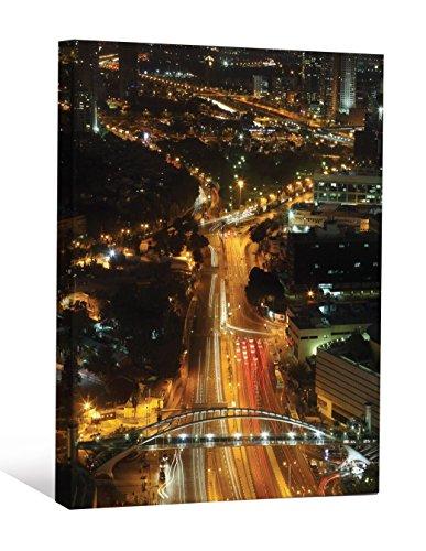 (JP London Racing Street Lights Urban City Life at Night Gallery Wrap Heavyweight Canvas Art Wall Decor, 2' High by 1.5' Wide)