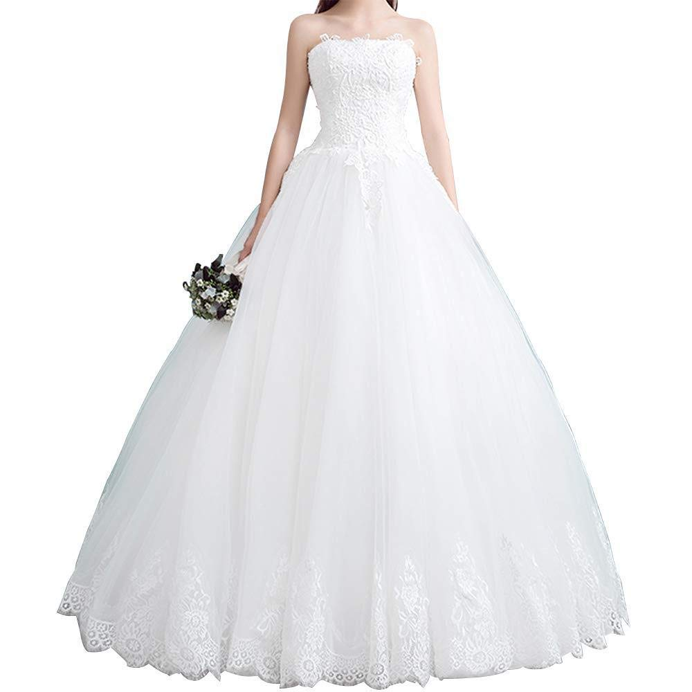 MYDRESS Chiffon Wedding Dresses for Bride Long A-Line Sleeveless Lace Appliques Neckline Pleated