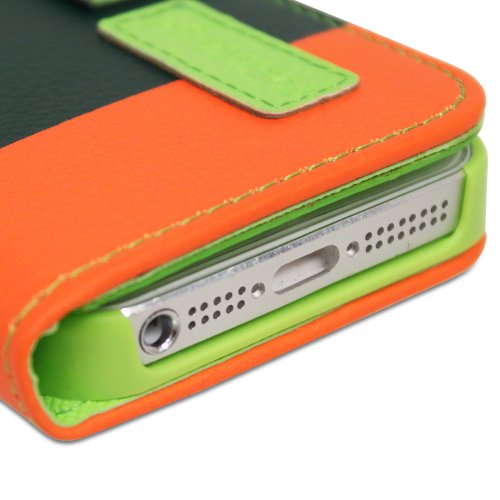 Fosmon CADDY-ART Leder Folio Wallet Case Brieftasche Cover hülle mit Hund Strap für iPhone 5 / 5s / SE (Weiß /Grün/Dark Grün/Orange)