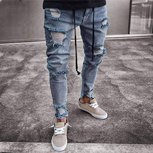 Uomo Allenamento Jeans Skinny Abbigliamento Slim Pantaloni Blau Da Pants Biker Frayed Fashion Chiusura Distressed Long Estate Adelina Ssig HRFwqn