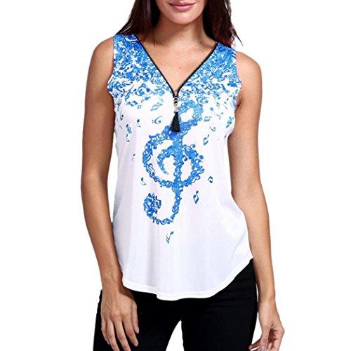 Sky Blue Snake - Lady Top Clearance! SanCanSn Women Musical Notes Print Sleeveless Tank Top V-Neck Zipper T Shirts Tops (Sky Blue,L)