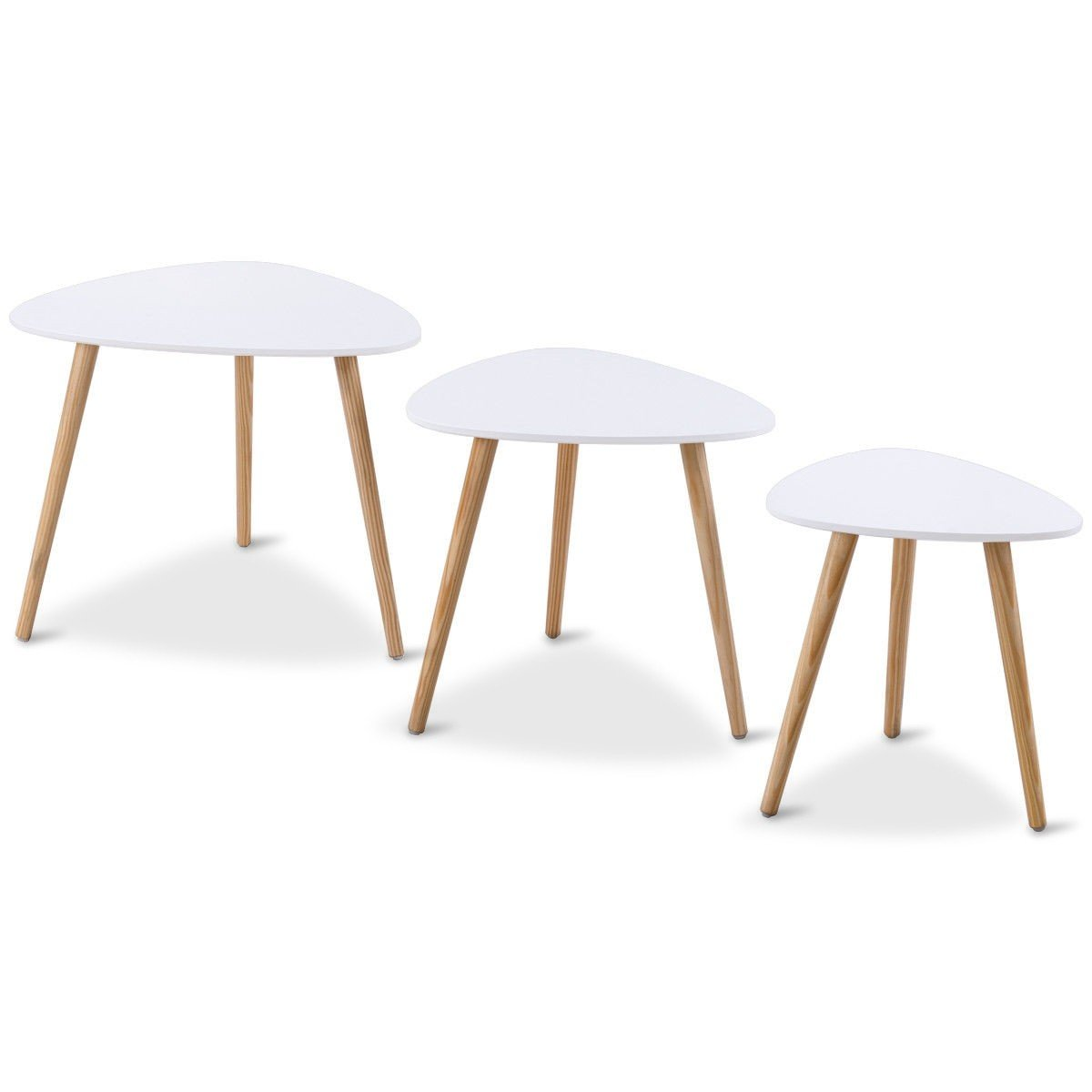 Set of 3 Wood Nesting Accent End Coffee Tea Table - By Choice Products