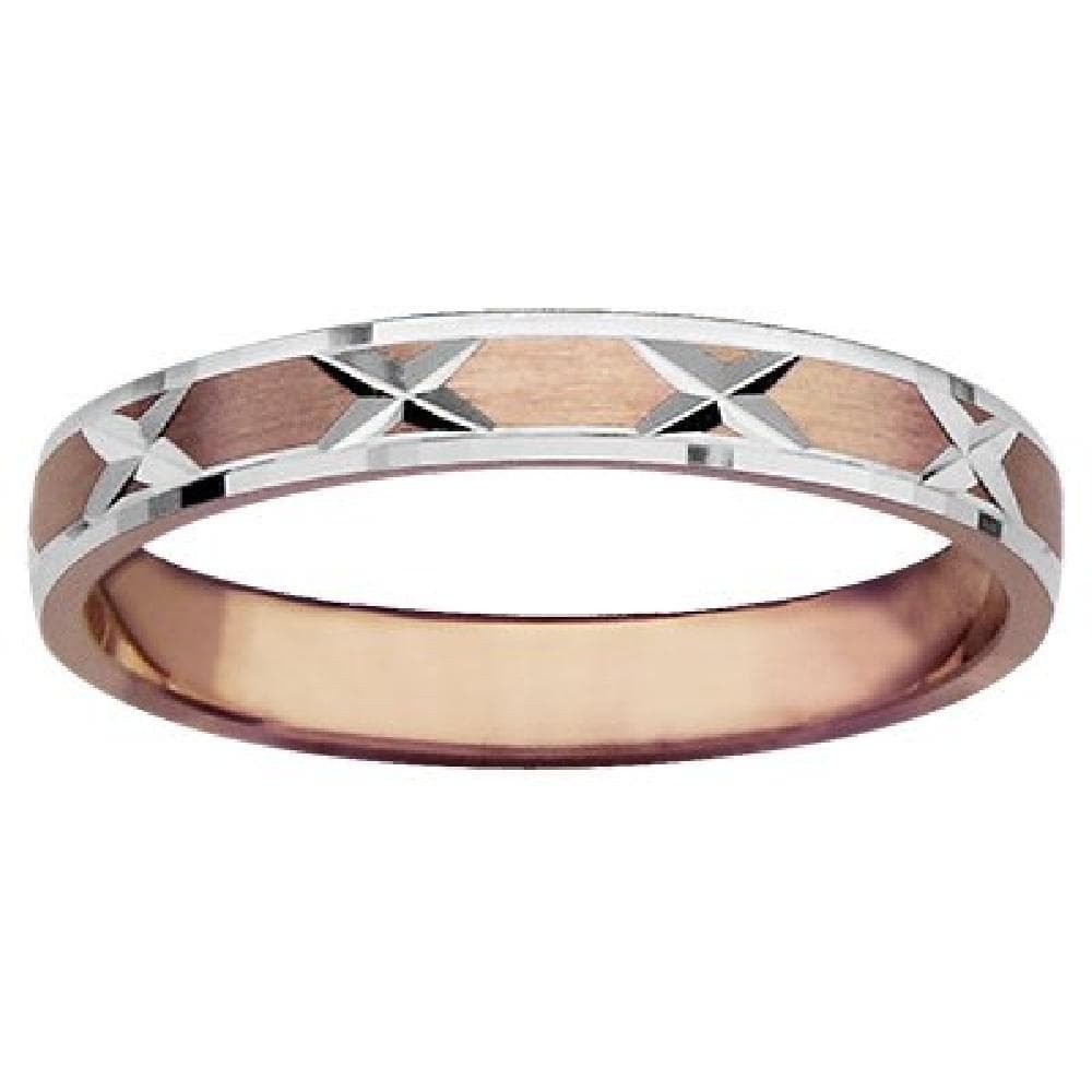 Customisable: Your Message Engraved Free Vermeil Pink 18k Gold over 925 Sterling Silver Silver Gilt So Chic Jewels - Bicolore 3 mm Cross Designed Wedding Band Ring