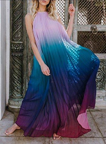 Halter Dress Purple Jaycargogo Sleeveless Maxi Chiffon Women Beach Swing ExwwFgB6q