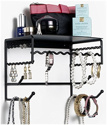 "Black 10"" Wall Mount Jewelry & Accessory Storage Rack Organizer Shelf for Earrings, Bracelets, Necklaces, & Hair Accessories"
