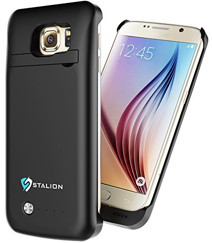 Galaxy S6 Battery Case: Stalion Stamina Rechargeable Extended Charging Case (Jet Black) 3500mAh Protective Charger Cover with LED Charge Indicator (Usb Combo Cable Protective Case)