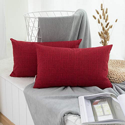 Toss Decorative Rectangle Pillow (Kevin Textile Christmas Retro Checkered Weaving Cotton Linen Decor Throw Pillow Covers Cushion Cover for Sofa, Set of 2, 12x20inch (30x50cm), Chilli Pepper Red)