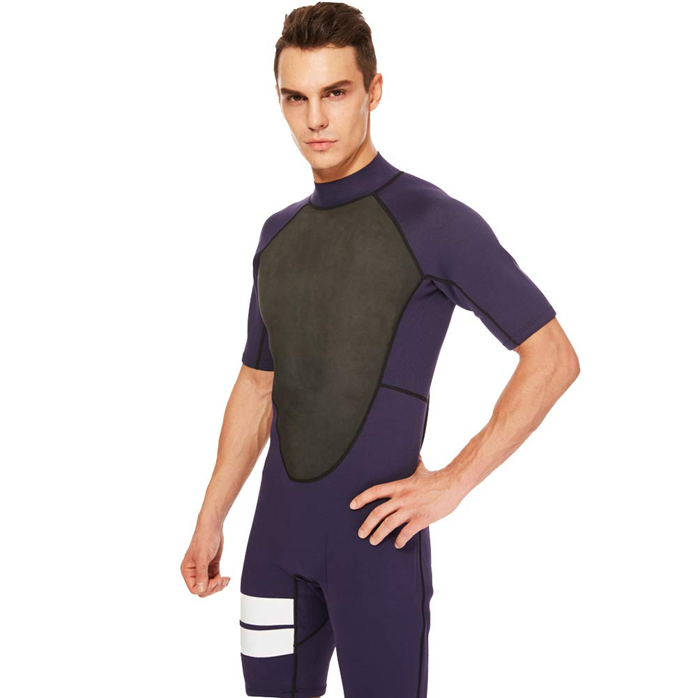 Realon Shorty Wetsuit Men 3mm Surfing Suit Diving Snorkeling Swimming Jumpsuit (2mm Shorty Navy, Large) by Realon (Image #5)