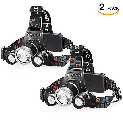 SHINE HAI LED Headlamp, 5000 Lumens, 4 Modes Headlight, Waterproof Flashlight, Rechargeable Batteries Lighting for Running Walking Camping Reading Hiking Riding Fishing, 2-Pack