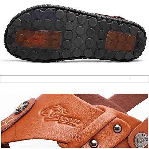 Autentiche Split Estive Scarpe brown Da Antiscivolo In Da Infradito Uomo Pantofole Sandal Pelle Spiaggia wZpqfZH