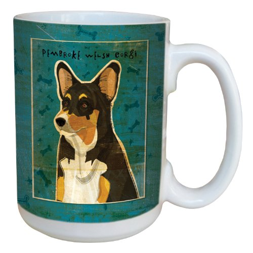 (Tree-Free Greetings sg44043 Tri-color Pembroke Welsh Corgi by John W. Golden Ceramic Mug with Full-Sized Handle, 15-Ounce)