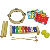 D'Luca ZQ-4 Percussion with Glockenspiel, Music Cards, Tambourine, Sticks & Egg Shakers, 4 Pack