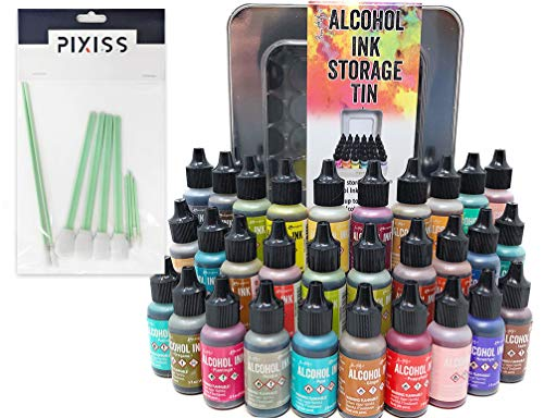 (30x Tim Holtz Alcohol Ink .5oz Bottles (Assorted Colors), Tim Holtz Alcohol Ink Storage Tin (Holds All 30 Inks), 8X Pixiss Ink Blending Tools)