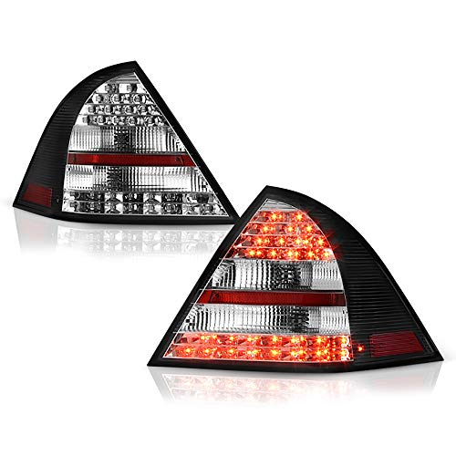 VIPMOTOZ For 2001-2004 Mercedes-Benz W203 C-Class Black Bezel Premium LED Tail Light Housing Lamp Assembly Replacement, Driver and Passenger Side ()