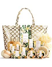 Spa Luxetique Spa bath set for Women, 15pc Spa Tote Bag Kit, Home Spa Set with Bath Bombs, Body Scrub, Vanilla Massage Oil & More. Best Christmas, Birthday Gift Idea.