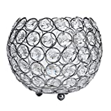 Lankcook Valentines Day Crystal Tea Light Candle Holders/Candle Shade for Wedding Silvery (L)