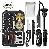 Outdoor Emergency Survival Kit,Waitiee Outdoor Survival Tool for Wilderness/Trip /Hiking /Camping/Adventures,SOS Emergency Survival Gear Kit with Fire Starter ,Flashlight(NO Battery Included.) ,Tactical Pen Folding Knife,Flashlight,Carabiner,14 in 1.