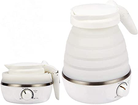 les voyages Navaris Bouilloire /électrique pliable de voyage Portable basse bouilloire pliable pour le camping Petite bouilloire /à eau pliable double tension 600 ml 0,6L blanc